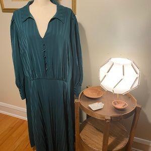 Modcloth NWT Emerald Green Long Sleeve Dress Sz 28
